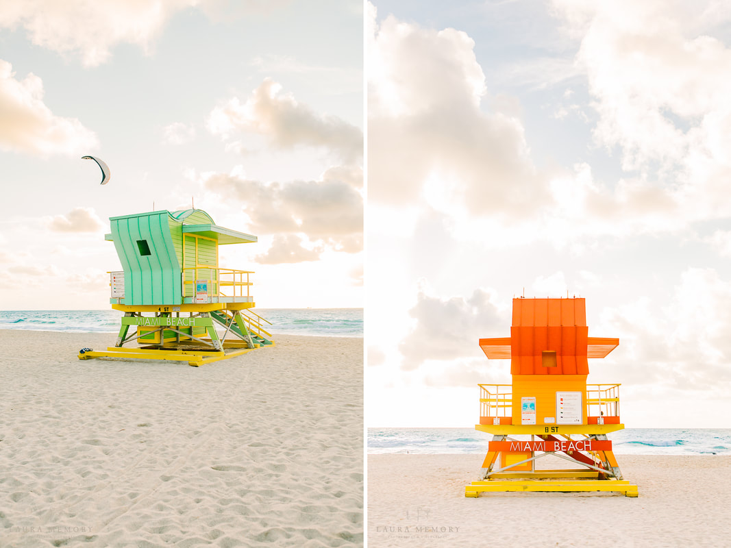 Beach decor, miami wall gallery, miami beach pictures, beach canvases, south beach lifeguard stands