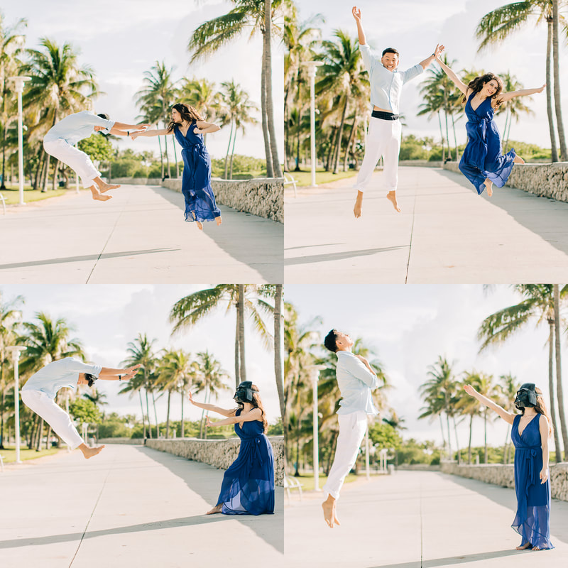 Raleigh wedding photographer Miami beach engagement south beach Corona Darth Vader masks action shot