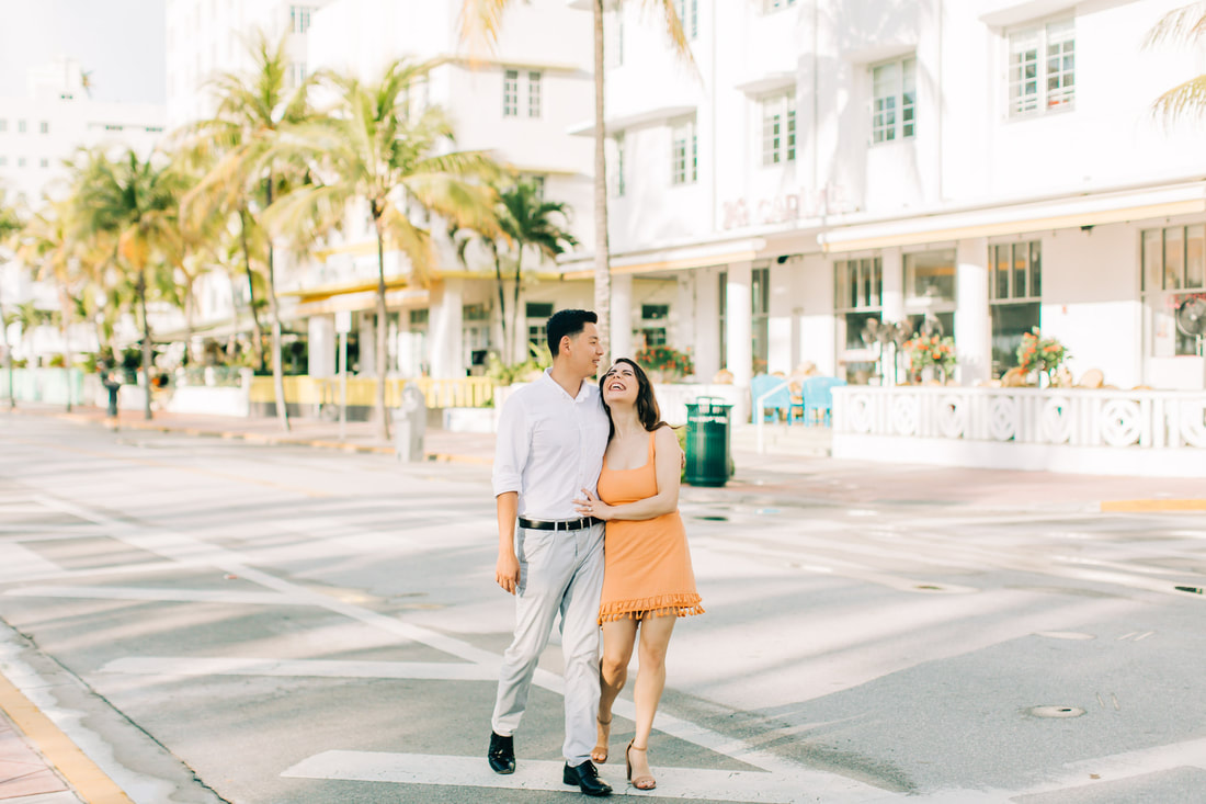 Raleigh wedding photographer Miami beach engagement ocean drive pictures