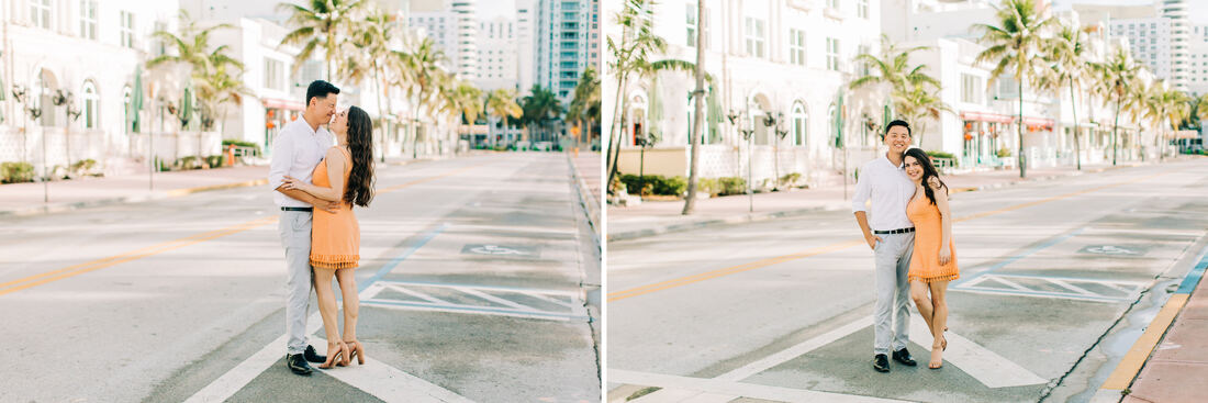 Raleigh wedding photographer Miami beach engagement ocean drive pictures art deco district