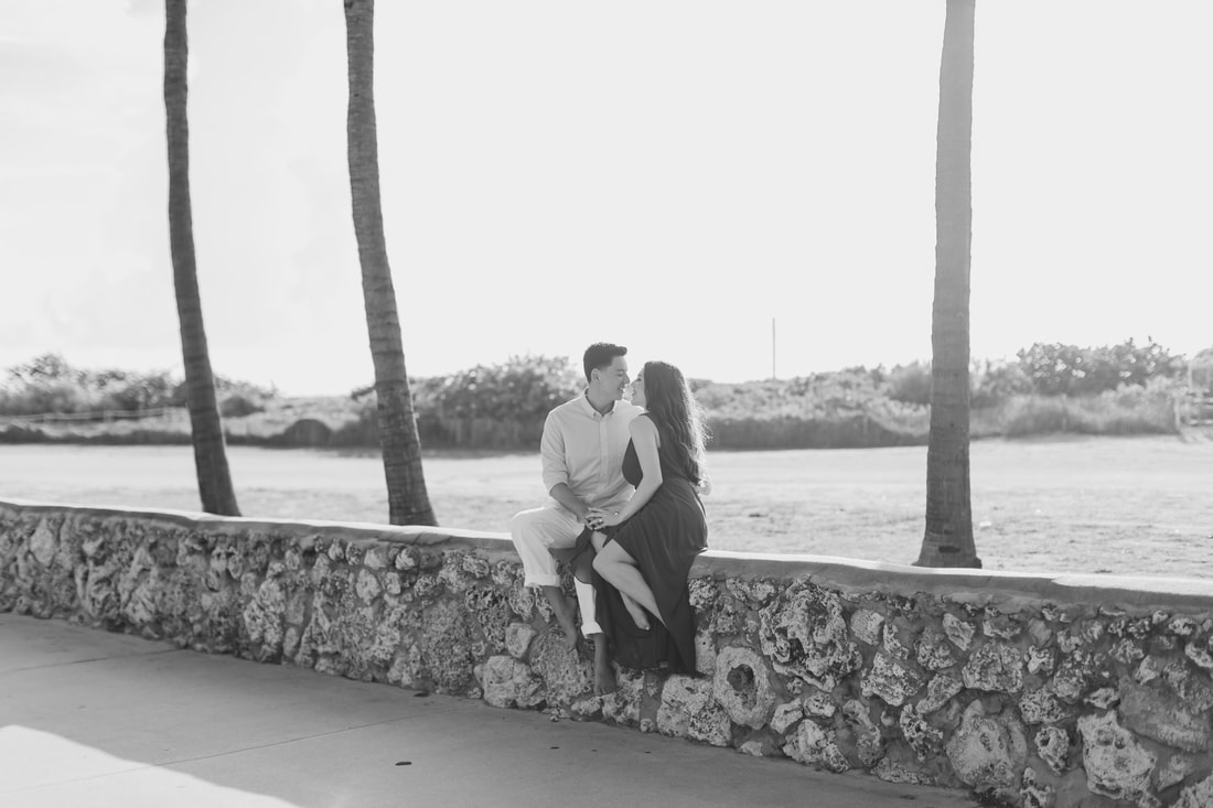 Raleigh wedding photographer Miami beach engagement ocean drive pictures black and white
